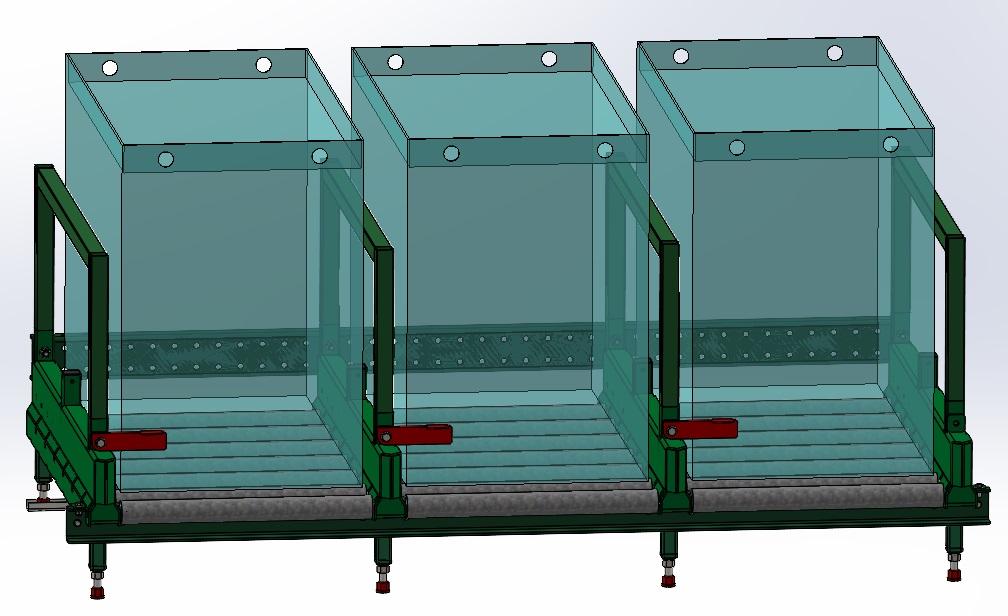 Görgős akkumulátor tároló - Védőkorláttal